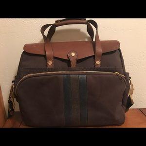 Brooks Brothers Leather and Cotton Handbag